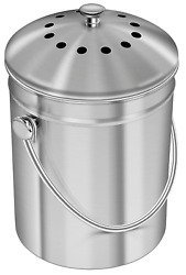 Epica Stainless Steel Compost Bin 1.3 Gallon Charcoal Filter Silver Kitchen Pail $39.99