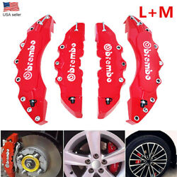 4Pcs 3D Style Car Disc Brake Caliper Cover Front amp; Rear Kit Universal RED LM