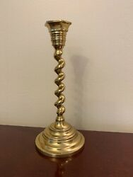 VINTAGE SOLID BRASS CANDLESTICK CANDLE HOLDER 7quot; TALL SPIRAL STEM $12.00