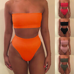 Womens Solid Bandeau Tops Bikini Set Summer Beach High Swimsuit Swimwear $8.73