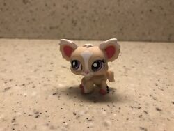 Littlest Pet Shop Authentic Cream Pink White Chihuahua Dog Purple Dot Eyes 1892 $11.99