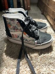 Vans Off The Wall Girls Black Suede Floral High Top Old School Sneakers sz 10.5 $20.00