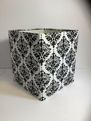 Small Square Lampshade Black amp; White Broquet Fabric Lamp Spider Mount $29.00