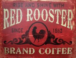 TIN SIGN quot;Red Rooster Coffeequot; Caffeine Signs Rustic Wall Decor $7.35