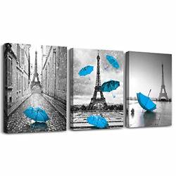 Black and white building Blue umbrella 3 Pieces Framed Wall Art for Living Room $87.26