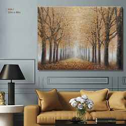 Large Tree Wall Art for Living Room Hand Painted Forest Oil Painting Framed for $165.81