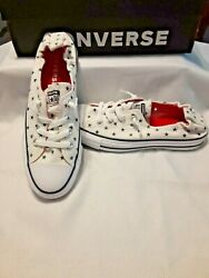 Converse All Star Women#x27;s 9.5 Slip On Sneakers Cons White Blue Stars $39.99