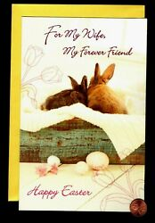 Easter For Wife Rabbits Cuddling Eggs Flowers LARGE Greeting Card W TRACKING $3.95