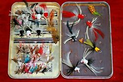 VINTAGE PERRINE # 101 FLY FISHING BOX WITH FLIES AND POPPERS LOADED TROUT $39.99
