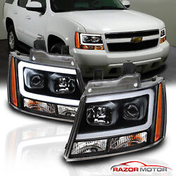 For 07 14 Chevy Suburban Tahoe Avalanche Black LED Bar Projector Headlights Pair $241.86