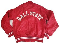Vintage Champion Ball State Mens Jacket Size Small Varsity Red Snap Rare $77.99