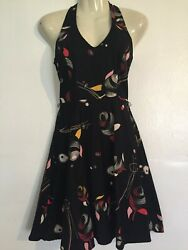 Vintage Lily Floral Black halter sleeveless Dress Size Small unique