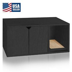 Cat Litter Box Enclosed Stackable Modern House Furniture Scratch Pad Black $97.22