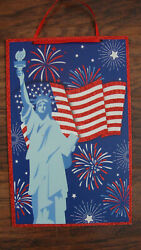 Patriotic Americana 4th of July decor Statue of Liberty hanging wood sign $8.00