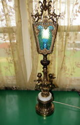 Vintage Stained Glass Marble Hollywood Regency Double Cherub Lamp Large $399.00