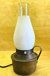 Vintage Hammered Copper Oil Lamp Style Electric Table Lamp Frosted Chimney 10quot; $38.00