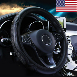 Black Leather Car Steering Wheel Cover Breathable Anti slip Car Accessories US
