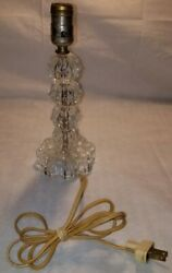 Vintage Glass Small Table Lamp Bedside Bouroir 1950s $14.99