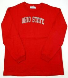 College Couture Womens XL Rhinestone Long Sleeve Shirt Red Bling Ohio State