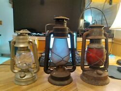 3 Antique DIETZ RAILROAD TALL BELL BOTTOM LANTERN With Globes Antiques $235.00
