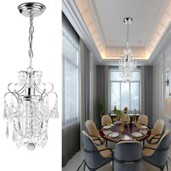 Indoor Crystal Chandelier Chrome lampshade Crystal Chandeliers Lighting Fixture $35.79
