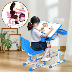 Height Adjustable Study Desk And Chair Set Pull Out Drawer With Tilted Desktop $59.99