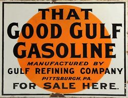 TIN SIGN quot;Good Gulf Circlequot; Gas Oil Signs Rustic Wall Decor $7.35