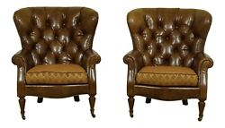 L51742EC: Pair CENTURY Tufted Back Leather Parlor Chairs $3695.00