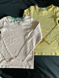 Two Boden Girls 11 12 Shirts Long Sleeve Thermal Pink Yellow Stripe Pointelle $14.95