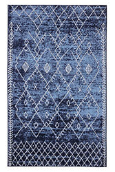 Trellis Bohemian 2#x27;x4#x27; Navy Moroccan Faded Transitional Area Rug 511 $29.99