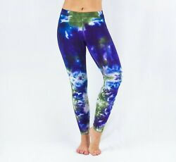 NEW Tie Dye Leggings by Akasha Sun Size XS Ice Dye Yoga Pants in Blue $12.99
