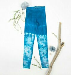 NEW Tie Dye Leggings by Akasha Sun Size XS Ice Dye Yoga Pants in Blue $11.99