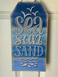 Beach House Cottage Rustic Home TAG Sign Decor SEA SUN SAND glitter embellished $12.97