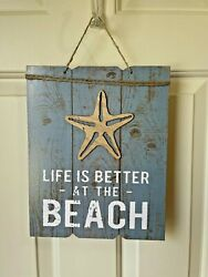 Beach House Cottage Rustic Home Sign Decor Wall Art LIFE IS BETTER AT THE BEACH $8.97