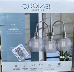 Quoizel Soho 3 Light Brushed Nickel Clear Glass Globe Chandelier LWS3235A $79.99