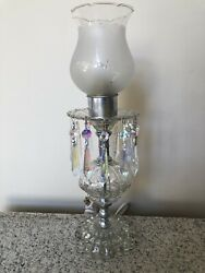 Antique Vintage Vanity Prism Lamp with Etched Shade $40.00