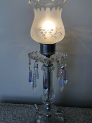 Antique Vintage Vanity Prism Lamp with Etched Shade $39.00