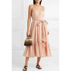 RHODE RESORT Lea Belted Cotton Voile Midi Dress Tiered Peach Boho S New 202184 $249.98