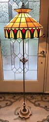 Antique Vintage Floor Lamp with Stained Glass Shade Original Paint 2 socket's $175.00