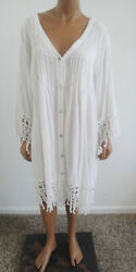 Women#x27;s SWIMSUITS FOR ALL Cotton Beach Cover UpPoolSwim DressWhite Lace14 16 $14.99
