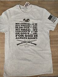 Hold Fast Abraham Lincoln On God#x27;s Side Men#x27;s T shirt Faith Tee Gray NEW $12.99