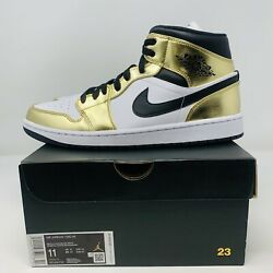 NEW AIR JORDAN 1 MID SE MEN#x27;S SHOES SIZE 11 quot;METALLIC GOLDquot; RETRO DC1419 700 DS $125.00