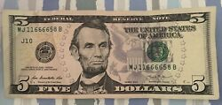 2013 $5 Fancy Serial Number SOLID QUAD 6666 and 1 pair together LUCKY DEVIL $11.66