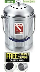 Cook N Home 1 Gallon Stainless Steel Kitchen Compost Bin with Charcoal Filter $19.95