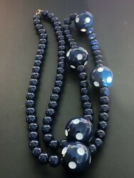 Blue White Dotted Lucite Vintage Beaded Necklace $12.67