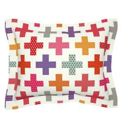 Colorful Plus Signs Geometric Medical Crosses First Aid Pillow Sham by Roostery $49.00