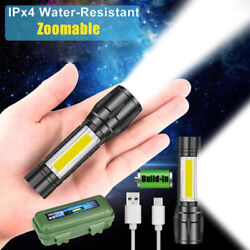 Outdoor LED Torch USB Rechargeable Flashlight Police Tactical Zoom Camping Lamp $6.79