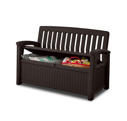 Keter 60 Gallon Outdoor Resin Storage Bench Furniture Seats 2 Brown $179.97