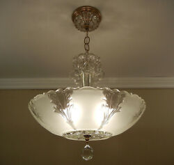 Vintage Chandelier 1930 40 Ceiling Light Frosted Satin Glass Solid Brass Fixture $585.00