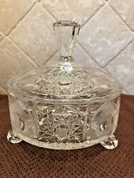 Beautiful Vintage Crystal Footed Covered Candy Dish Star Pattern $14.50